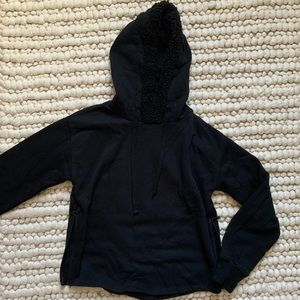 Hoodie with fur lined hood and zippers